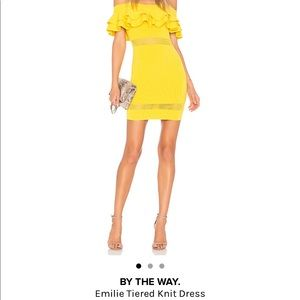 By the way. Bright yellow womens dress